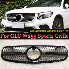 front grille suitable for glc class w253 gtr 2015 2018 x253 glc200 glc250 glc300 glc450 glc63 grille without central logo W253 Diamonds Front Grille Without Sign ABS Black For MercedesMB GLC-class GLC250 GLC350 400 Front grills Without Camera 2017-in