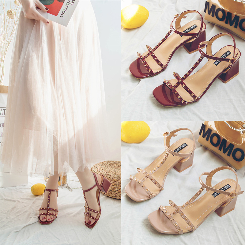 2020 Female Sexy High Heel Sandals Solid Color Shallow Mouth Fish Mouth Thick with High Heel Sandals Rivets Open Toe High Heels
