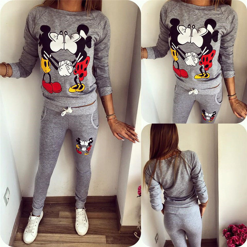Hoodie+pants Spring Women Ladies 2 Pieces Mickey & Minnie Print Long Sleeve Sets Pullover Harajuku Hoodie Tracksuits Cartoons