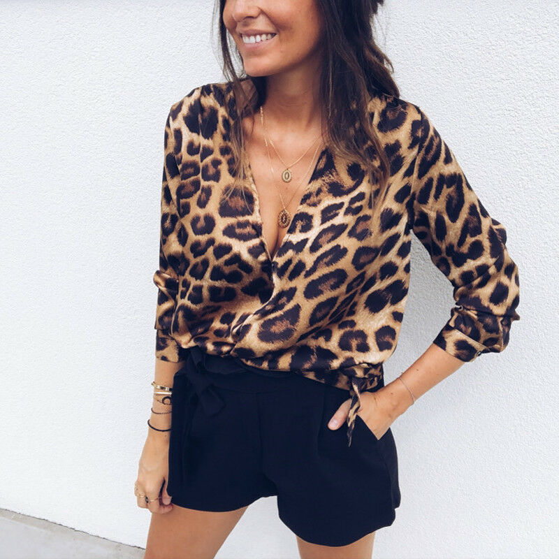 Imcute New Sexy Women Leopard Print Blouses Tops Deep V Neck Long Sleeve Casual Loose Blouse Tops Blusas Female Tunic Blouse