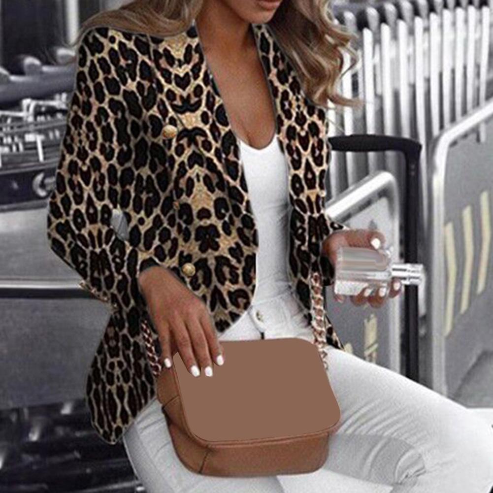 Women Casual Leopard Print Cardigan Jacket Coat Button Outwear Thin Blouses V-Neck Slim Polyester Spandex Women's Blazer
