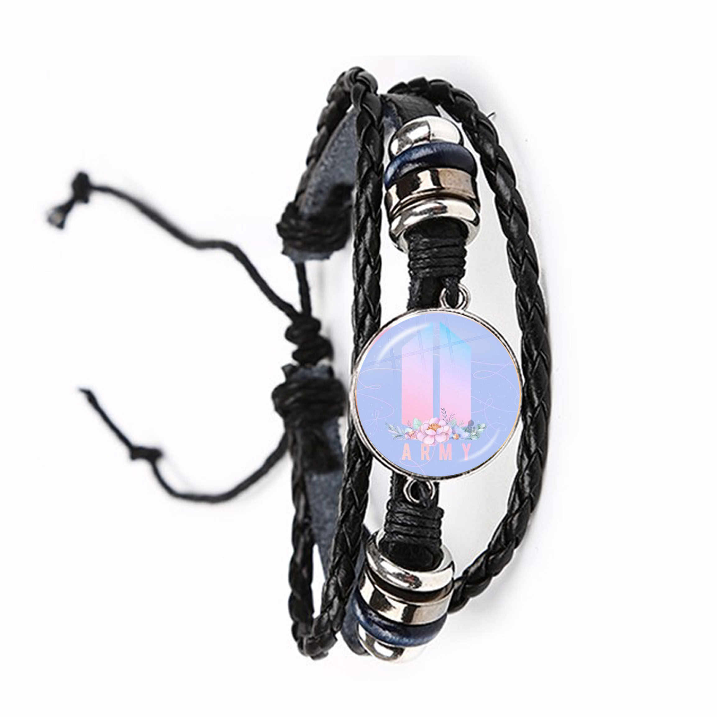 Army Bomb Glass Dome Leather Bracelet Kpop BT21 Jewelry K-pop Boys Accessories Black/Brown Bangle For Fans Album Love Yourself