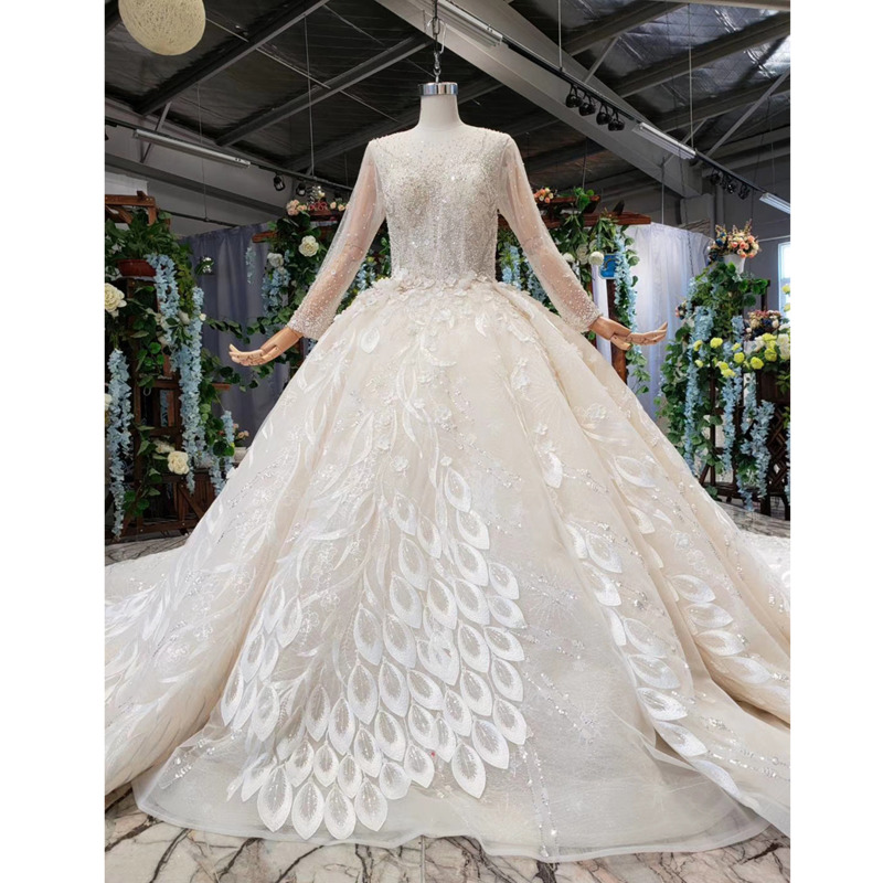 BGW HT41612 Handmade Wedding Dresses Long Sleeves Tulle O-neck Sexy Corset Wedding Gown With Beading Adapt To Various Occasions