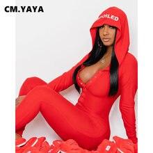 Cm. Yaya Hooded Brief Print Button Solid Jumpsuits Voor Vrouwen Winter Vrijetijdskleding Volledige Mouw Schede Skinny Elastische Jumpsuit Warm