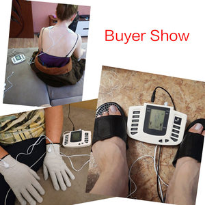 Image 5 - Russian/English Button Electrical Muscle Stimulator Slimming Massager Pulse Tens Acupuncture Machine + Slippers +16Pads + Gloves
