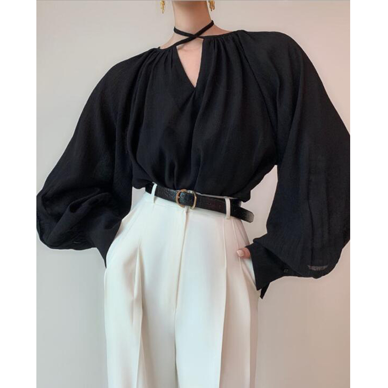 Hanging Neck Strap Women Blouse Shirt Black Blouse
