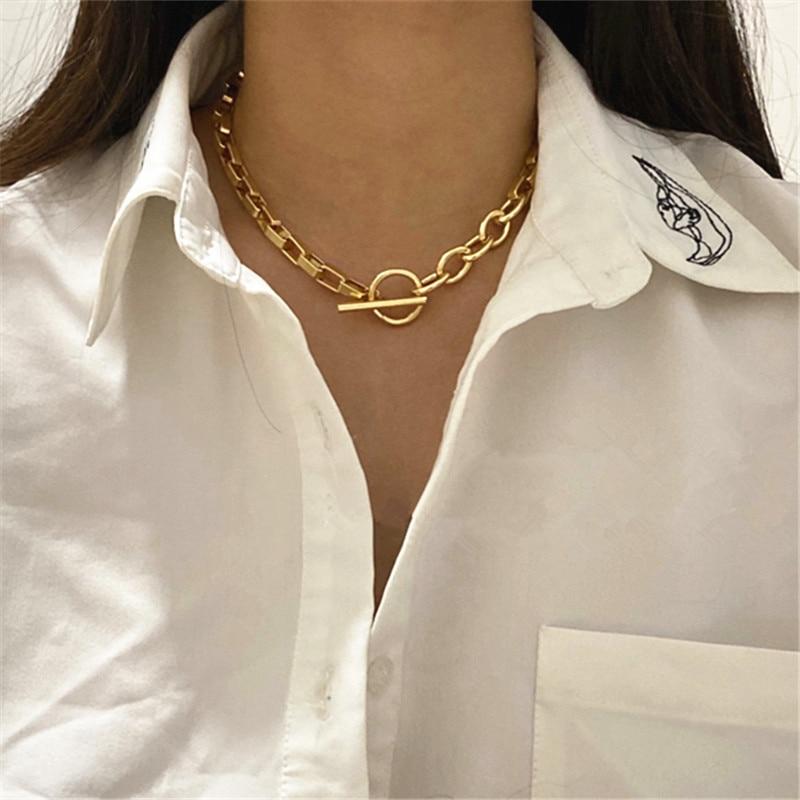2020 новый стиль, металлический золотой сплав, простая Геометрическая цепочка для ключиц, подходит для мужчин и женщин, короткое крутое ожерелье, вечерние и праздничные|Ожерелья-чокеры| | - AliExpress