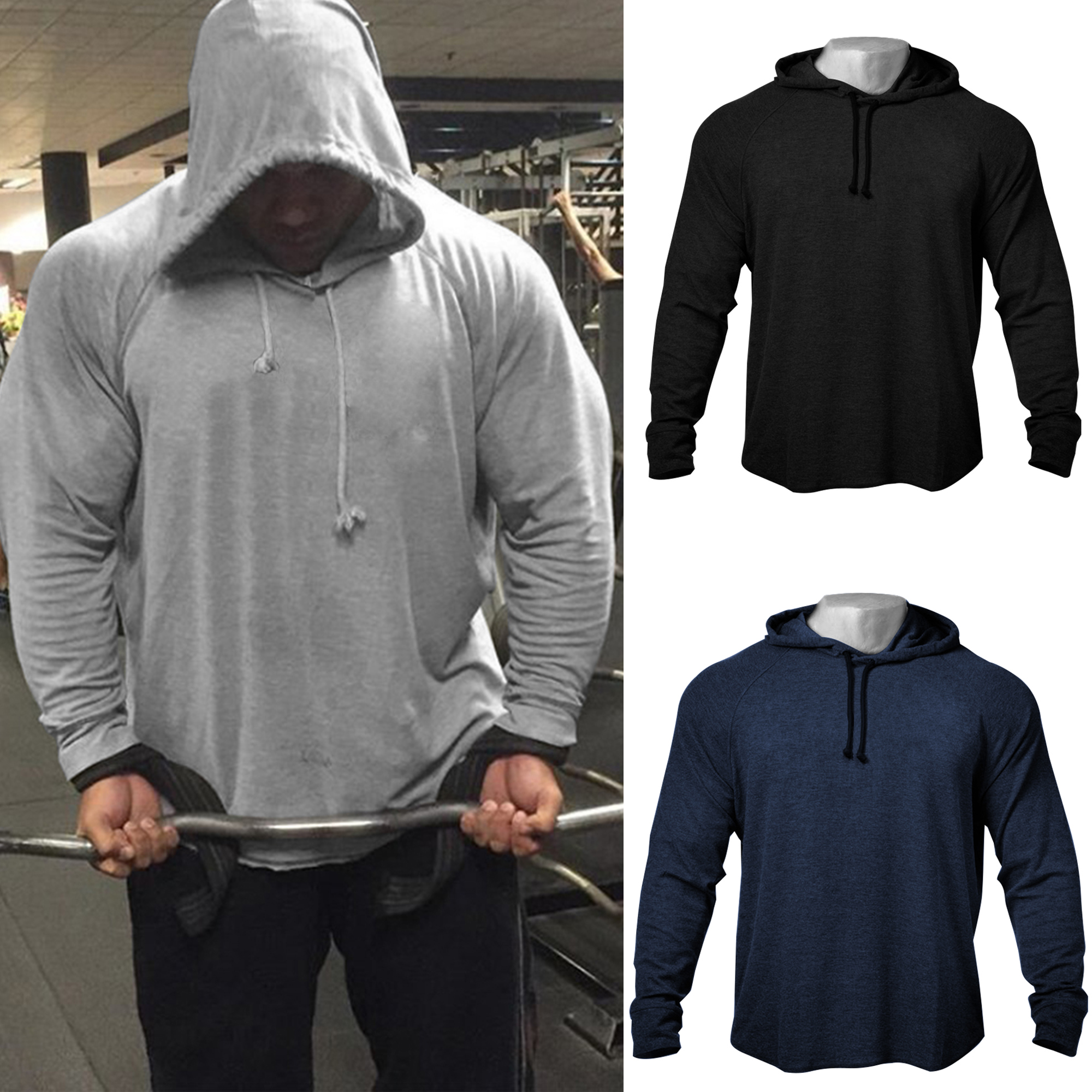 Men's GYM Fitness Bodybuilding Solid Raglan Hooded Sweatshirts High Quality Cotton Raw-Cut Muscle Fit Hoodies Tracksuit Top