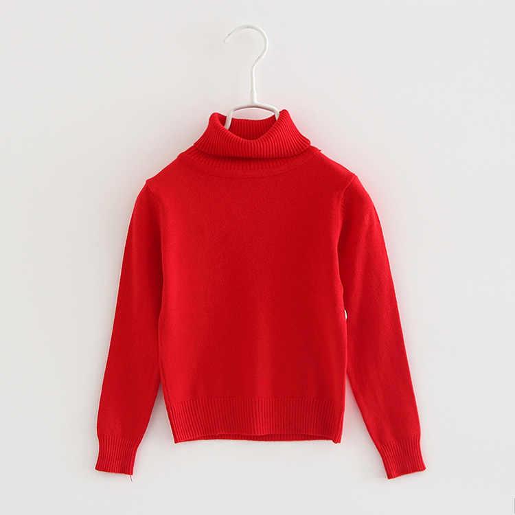 2020 jesień dziecko sweter noworodka zwykły szary golf chłopcy dziewczęta swetry 1 2 lat maluch ubrania dla dzieci 195002
