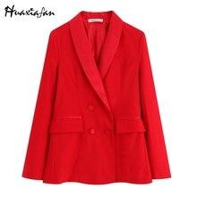 Huaxiafan, женские блейзеры, одноцветные, красные, офисные, женские, элегантные, двубортные, с длинным рукавом, на молнии, женская повседневная одежда для улицы