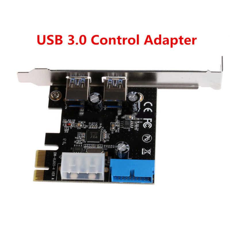PCI Express USB 3,0 2 puertos Panel frontal con 4 pines y adaptador de tarjeta de Control de 20 pines para impresora de cámara Digital CD/DVD externo