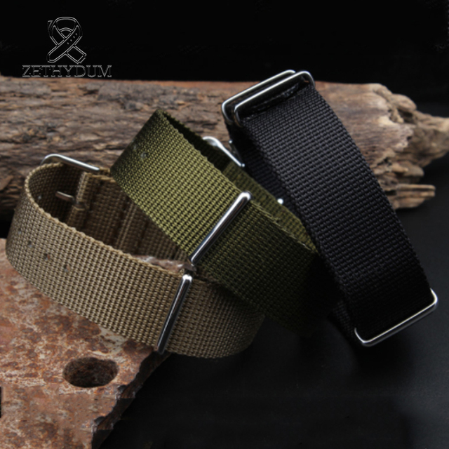 Simple and pure color Outdoor sport Nylon canvas watch belt Waterproof and sweat proof 16 18 20 22 24 Military Watch male strap 1