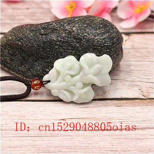 Putih Alami Cina Jade Liontin Bunga Magnolia Kalung Pesona Perhiasan Fashion Aksesoris Diukir Amulet Hadiah untuk Wanita