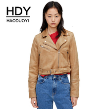 HDY Haoduoyi 2019 New Fashion Autumn Suede Camel Zipper Jacket Wild Handsome Lon