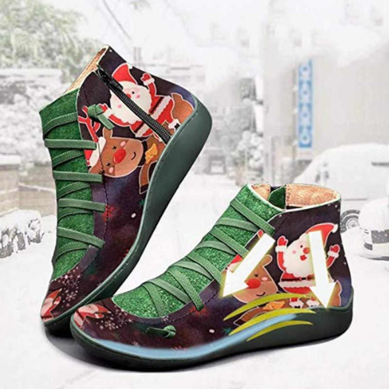 MCCKLE Kerst Vrouwen Enkellaars vrouwen Vintage Rits Lace Up Dames Schoenen Vrouw Retro Werkende Laarzen Vrouwelijke Schoenen Nieuwe