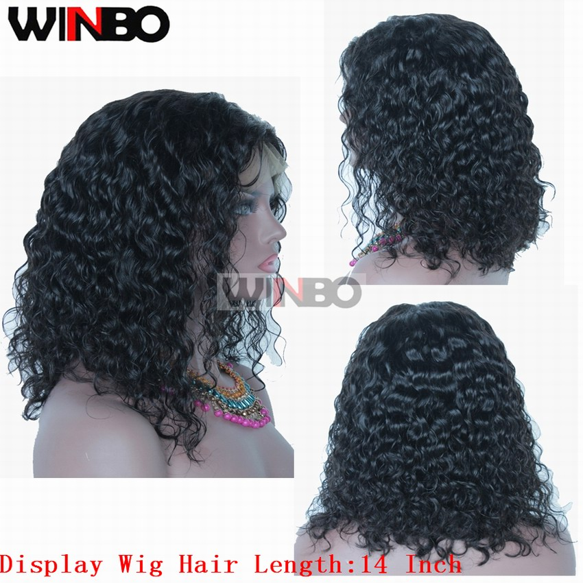 WINBO Brazilian Remy Hair Women Wigs Water Curly Full Lace Wigs Natural Black Color Pre Plucked Hairline Baby Hair