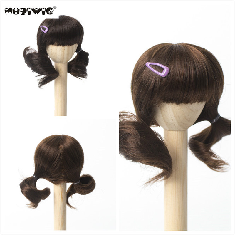 Muziwig BJD/SD Doll Wigs Long Curly brown Ombre Color Hair for 1/6 Dolls Accessories image