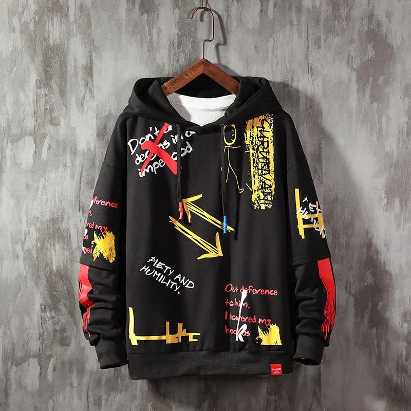 Japanese Streetwear Hoodies Sweatshirt Harajuku Hoodies Hooded Man Hip Hop Sweatshirt Black Hoodies 2020 Men's Fashion Pullover