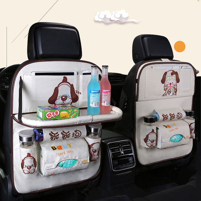 Cartoon Multi Pocket Car Seat Back Hanging Organizer Universal Auto Pad Cup Storage Holder Bag Car styling Protector Accessories