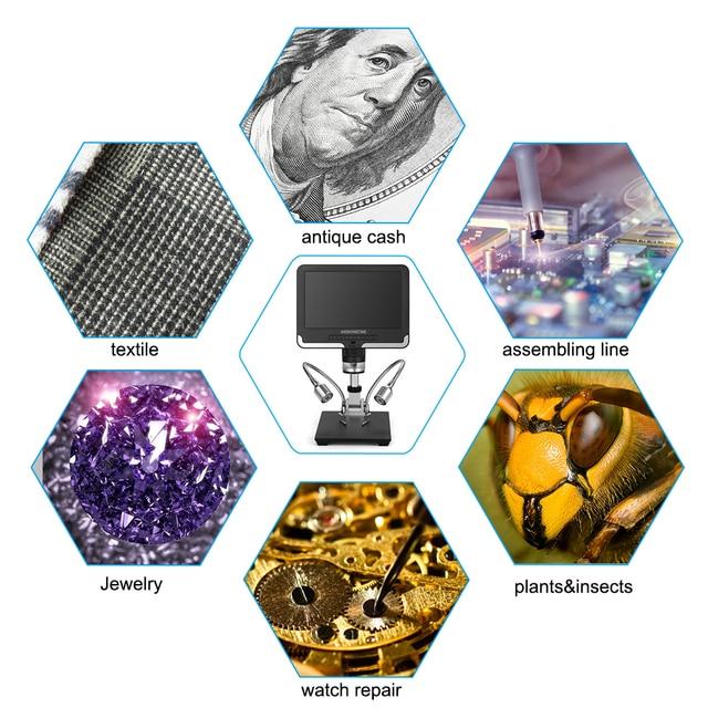 Microscope numérique daffichage à cristaux liquides dandonstar AD206 avec lécran 7 pouces pour la loupe de Maintenance industrielle doutil de soudure de réparation de téléphone de carte PCB
