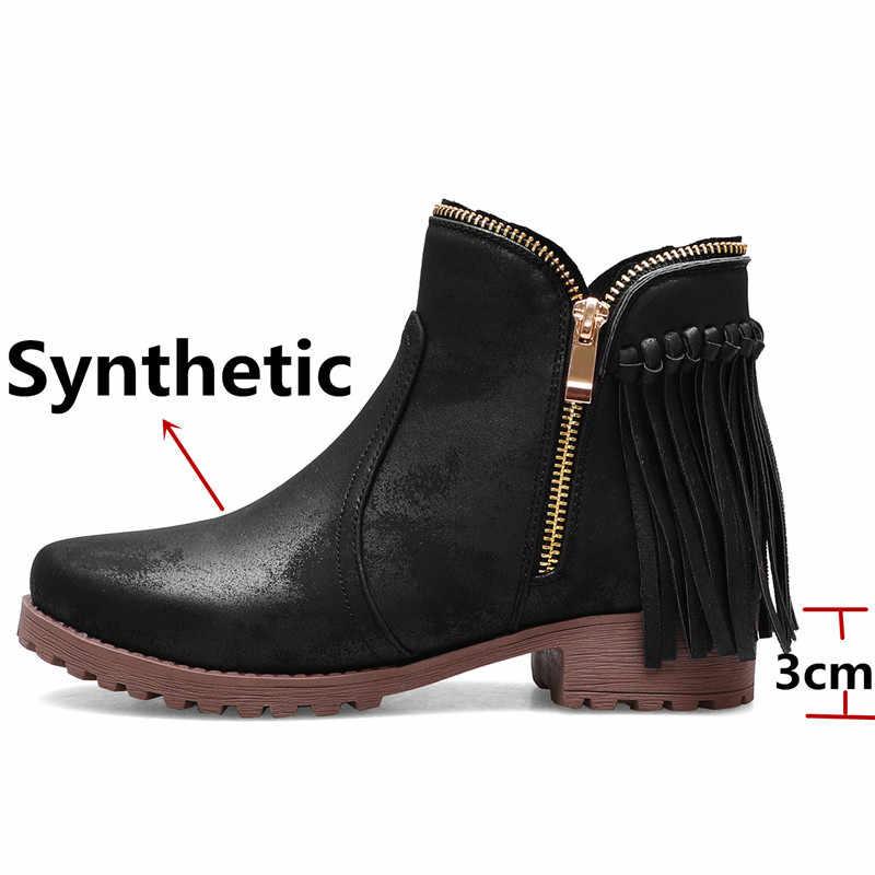 FEDONAS saçak kış Euro tarzı kadın motosiklet botları yüksek topuklu kısa çizmeler parti rahat ayakkabılar kadın rahat yarım çizmeler