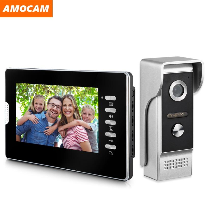 7 Inch Wired Video Door Phone System Video Intercom Doorbell With Waterproof Outdoor IR Camera Remote Unlock For Home Security