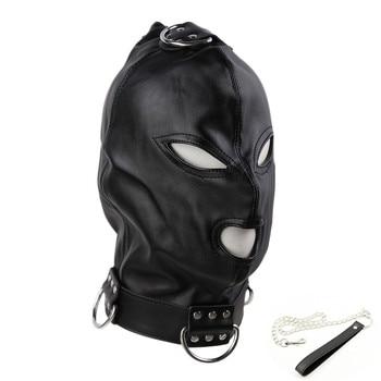 Haube Maske mit Metall Kette Sklave Leder für Fetisch Bdsm Bondage 1