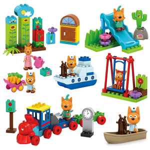 Genuine Kid E Cats Assembling Building Blocks For Three Happy Cats Cookie Candy Pudding Figures Scenes Toys Child Birthday Gifts