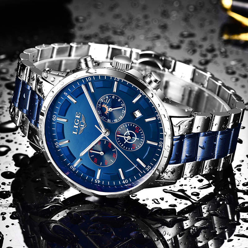 2020 LIGE Mens Watches Top Brand Luxury Sport Clock Fashion Waterproof Business Watch Men Quartz Chronograph Relogio Masculino