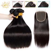 Steil Haar Bundels Met Sluiting Peruaanse Haar Weave Bundels Met Sluiting Zonlicht Menselijk Haar Bundels Niet Remy Hair Extensions