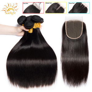 Image 1 - Straight Hair Bundles With Closure Peruvian Hair Weave Bundles With Closure Sunlight Human Hair Bundles Non Remy Hair Extensions