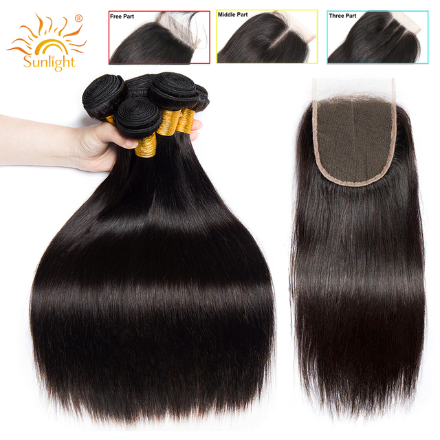 Straight Hair Bundles With Closure Peruvian Hair Weave Bundles With Closure Sunlight Human Hair Bundles Non Remy Hair Extensions