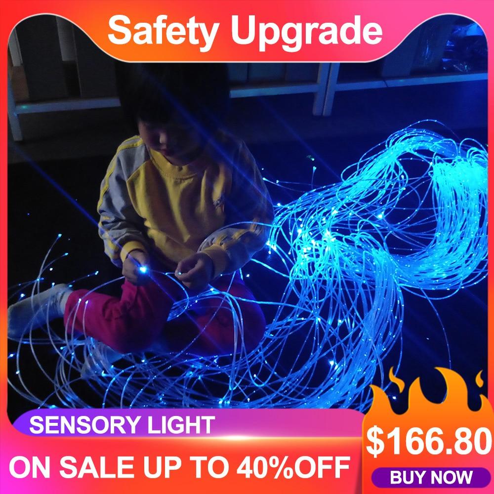 Maykit უსაფრთხოდ სითბოს დალუქული 160 ცალი 3 * 0.75 მმ 3 მ ბოჭკოვანი 16W RGB LED ბოჭკოვანი მსუბუქი ძრავის ბოჭკოვანი ოპტიკური განათება ბავშვებისთვის მგრძნობიარე ოთახისთვის
