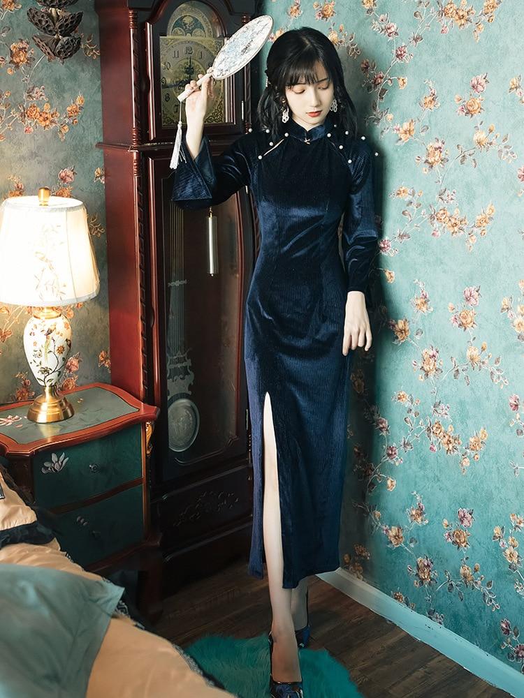 Retro Chinese-style Cheongsam Autumn And Winter Women's Long Elegant Nian Qing Kuan GIRL'S Modified Version Of Gold Velvet Dress