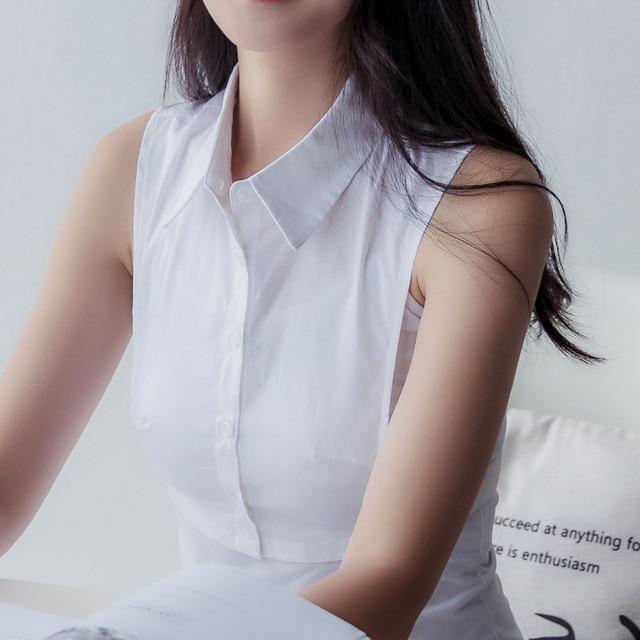 Women Cotton Lace Fake Collar Blouse Vintage Detachable Shirt Collar False Collar Lapel Blouse Top Women Clothes Accessorie 6