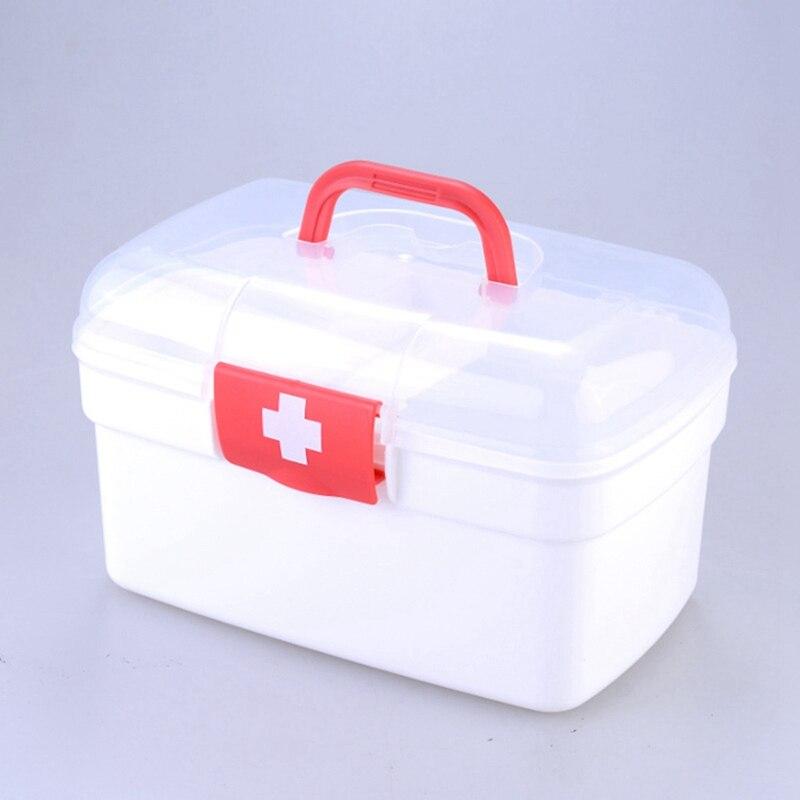 Household Medicine Kits Bin Medical First Aid Storage Box Plastic Medical Box Handle Portable Storage Case Box 3 Sizes