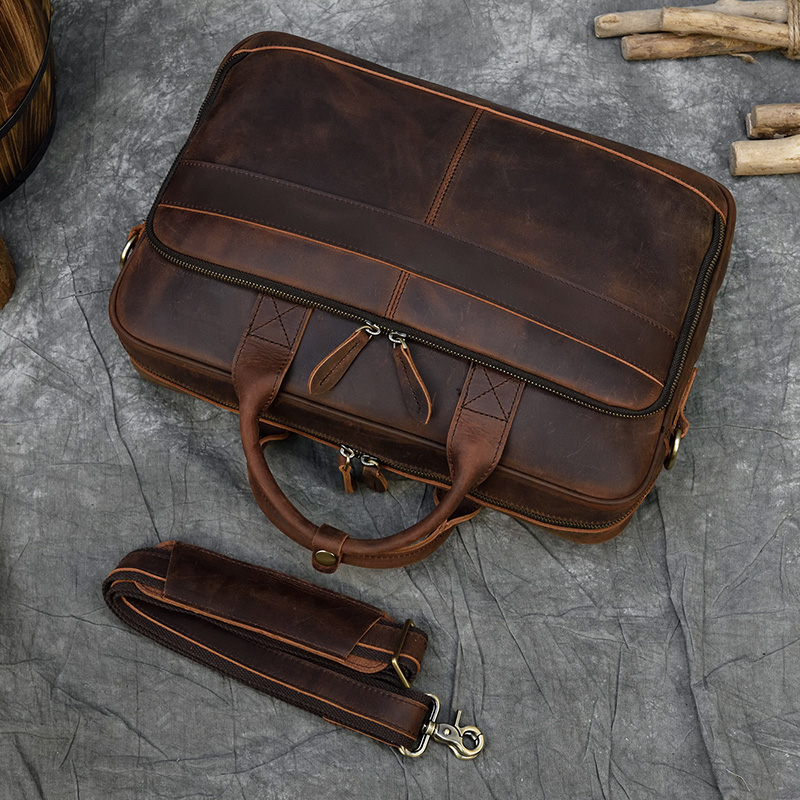 MAHEU мужской портфель, натуральная кожа, сумка для ноутбука, 15,6 дюймов, PC, сумка для компьютера, сумка для компьютера, Воловья кожа, мужской портфель, коровья кожа, мужская сумка - 4