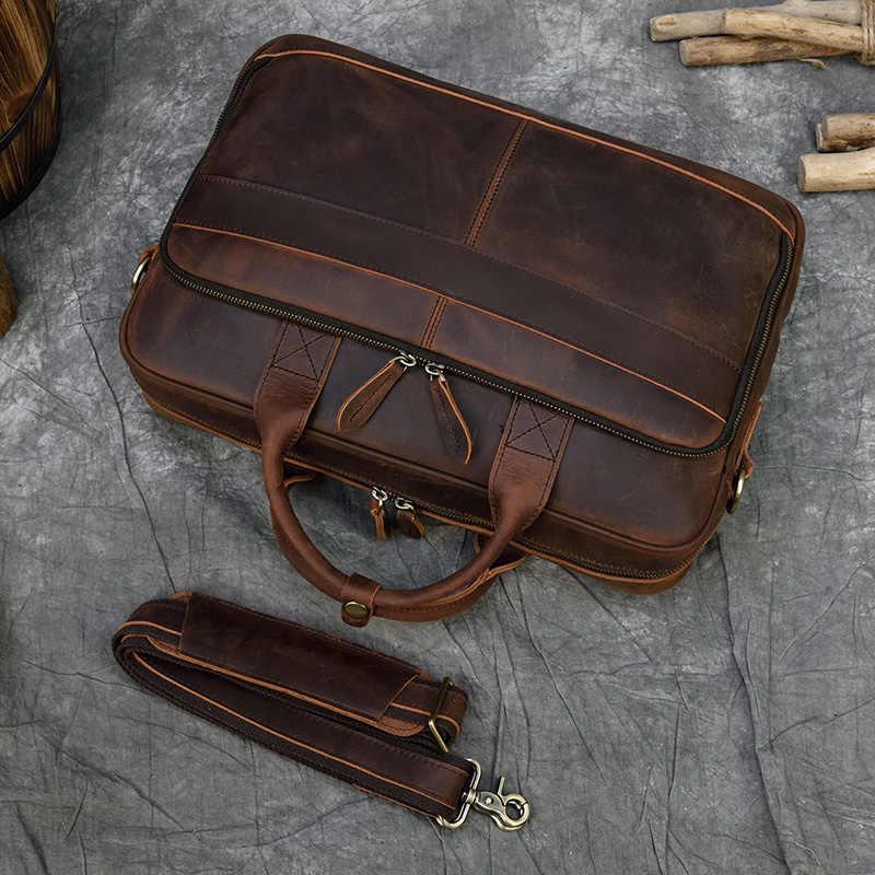 Maletín de cuero auténtico MAHEU para hombres, bolso para ordenador portátil de 15,6 pulgadas, bolso para médicos y abogados, maletín de piel de vaca para hombres, bolso para hombres