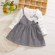 ZAFILLE Long Sleeve Baby Girl Dress Patchwork Kids Clothes Cute Cotton Girls Summer Dress Plaid Toddler Baby Girls Clothes Dress fhadst new striped patchwork character girl dresses long sleeve cute mouse children clothing kids girls dress denim kids clothes