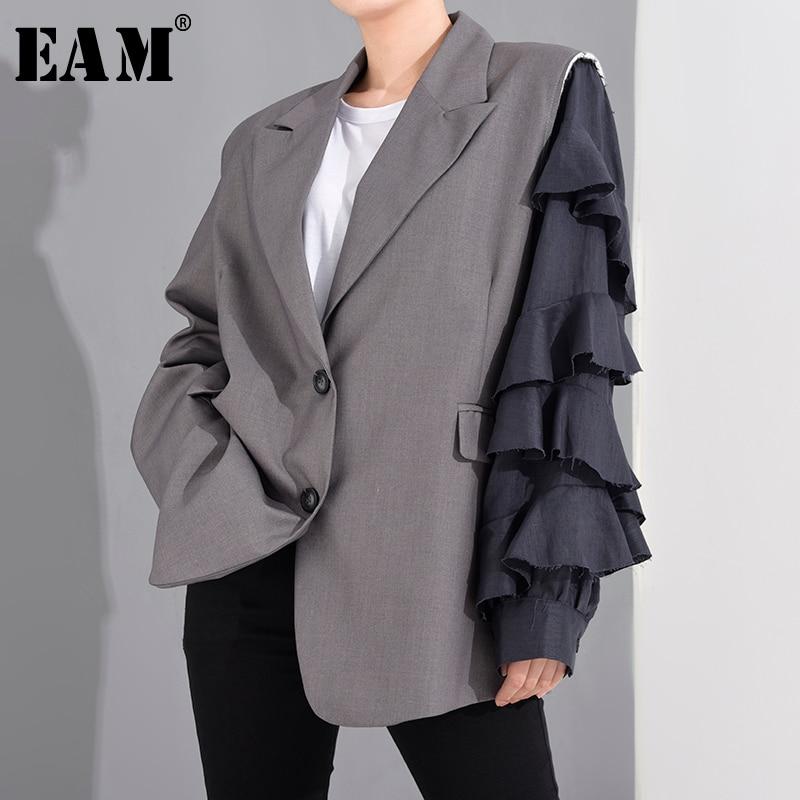 [EAM]  Women Gray Ruffles Burr Split Big Size Blazer New Lapel Long Sleeve Loose Fit  Jacket Fashion Spring Autumn 2020 1T27002S