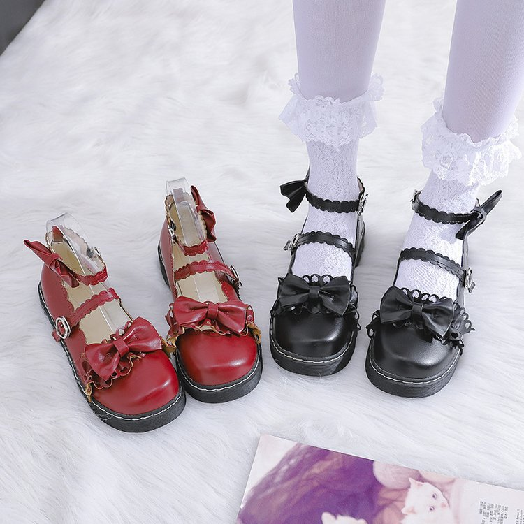 Japanese Mori girl Versatile <font><b>Lolita</b></font> Bowknot Single <font><b>shoes</b></font> Female Autumn Retro Round Head Flat Soft sister Student <font><b>Lolita</b></font> <font><b>Shoes</b></font> image