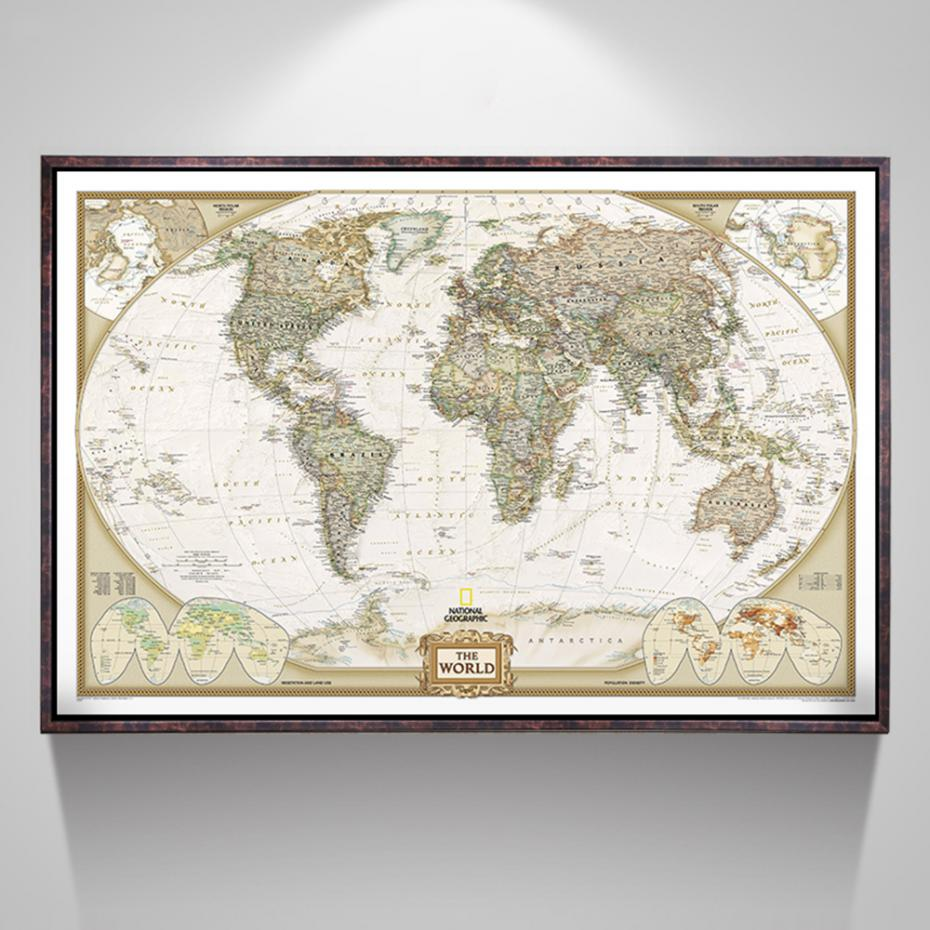 Large Vintage World Map Office Supplies Detailed Antique Poster Wall Chart Vintage Paper Matte Kraft Paper 104*69cm World Map