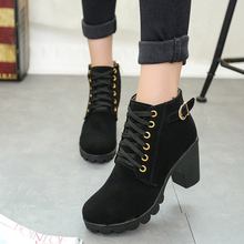 2019 Autumn winter  Punk shoes woman boots shoes ankle boots for women Belt buckle women's shoesLace and bare boots knight boots punk woman pointed toe low heel ankle boots black metal belt buckle hollow ankle boots real photos hollow knight woman boots