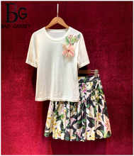 Baogarret Runway High-End Skirt Suit Womens Applique Short Sleeve Wool Knitting Top lily Flower Print Cotton Ladies Suits