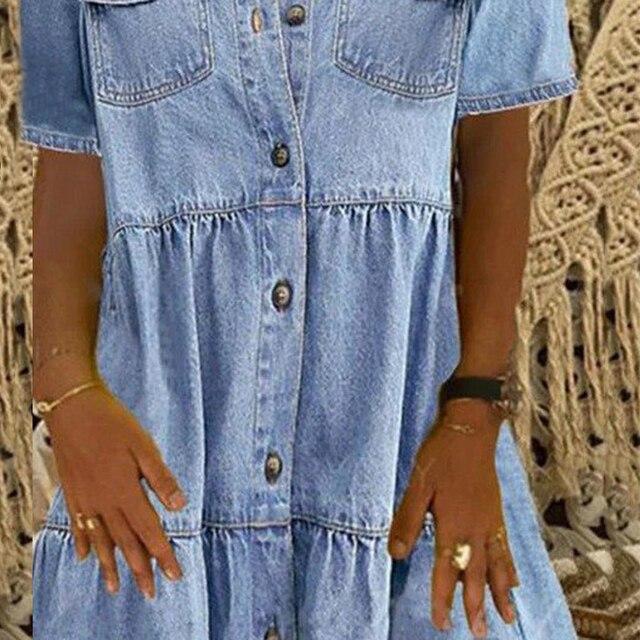 Denim Dress Retro Women Short Sleeve Turn Down Collar Pockets Button Long Loose Denim Dress Pockets Button Long Loose Plus size 5