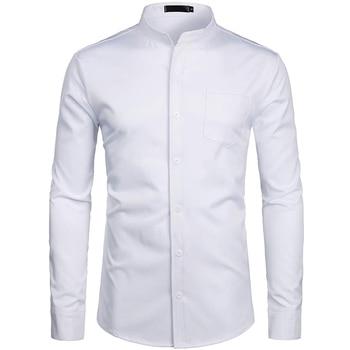 Mens Dress Shirts Fashion Banded Collar Casual Slim Fit White Shirt Solid Long Sleeve Button Down shirts for Men with Pocket button down long sleeve pocket shirt