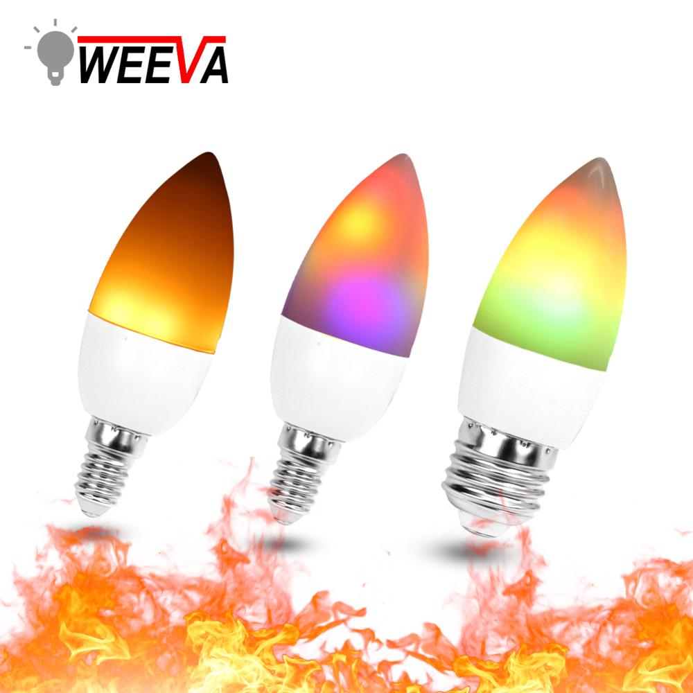 LED Candle Bulb Light E27 E14 E12 Flame Effect RGB Lighting Bombillas 3W 110V 220V Christmas Creative Fire Lights Lamparas