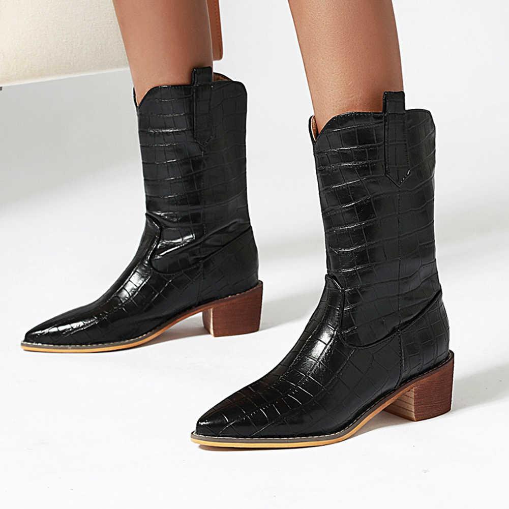 BONJOMARISA yeni artı boyutu 34-47 moda sivri burun bayanlar tıknaz topuklu ayakkabılar kadın rahat parti Ol orta buzağı çizmeler kadın 2020