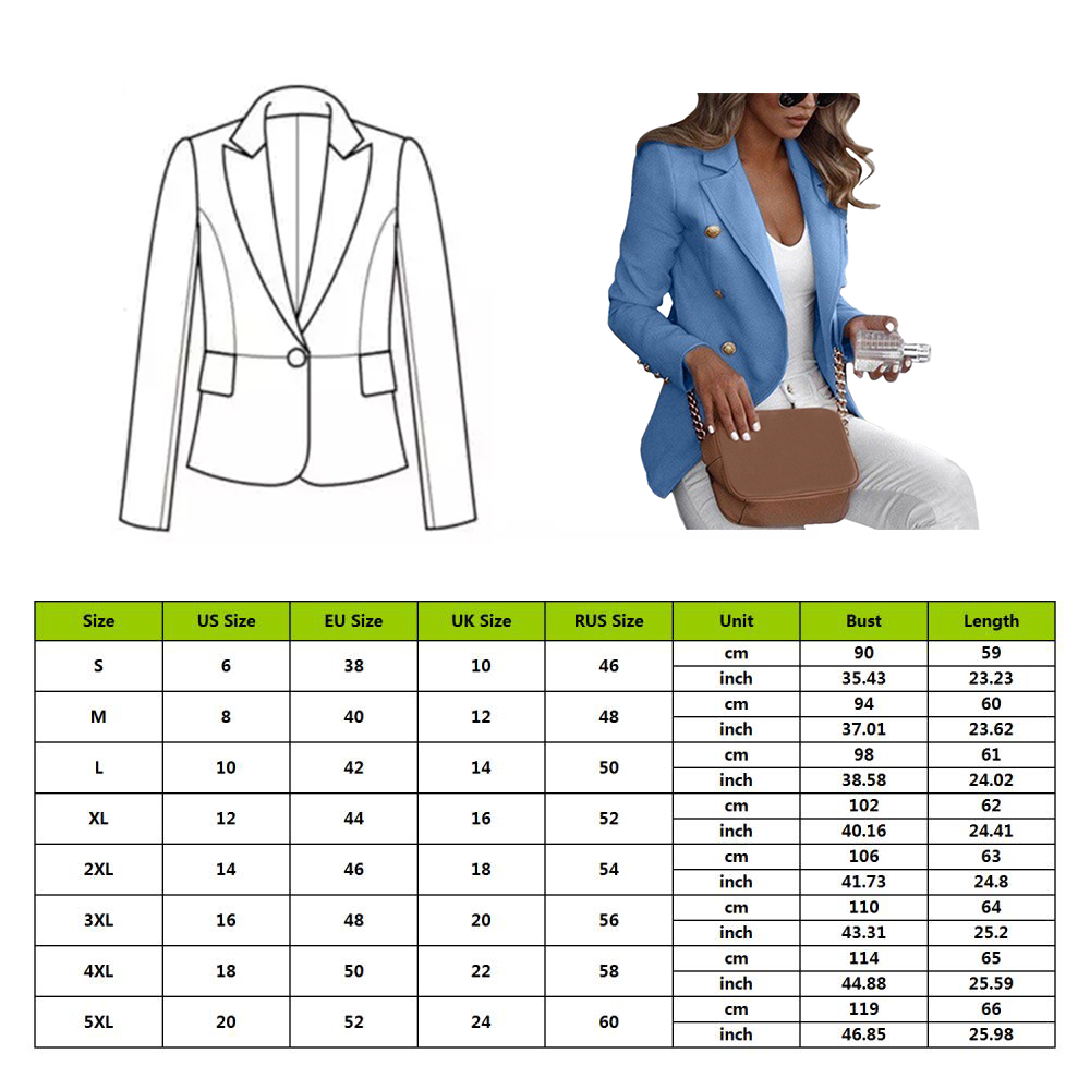 WENYUJH Women Long Sleeve Formal Blazer Jackets Cardigan Office Work Lady Notched Slim Fit Suit Business Autumn Outerwear Tops