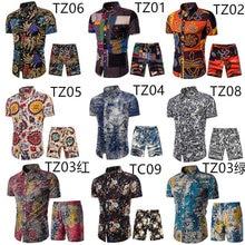 Hawaiian Print Suit 2021 Summer Short Sleeve Button Shirt Beach Shorts Street Casual Men Suit 2 S-5XL Incerun